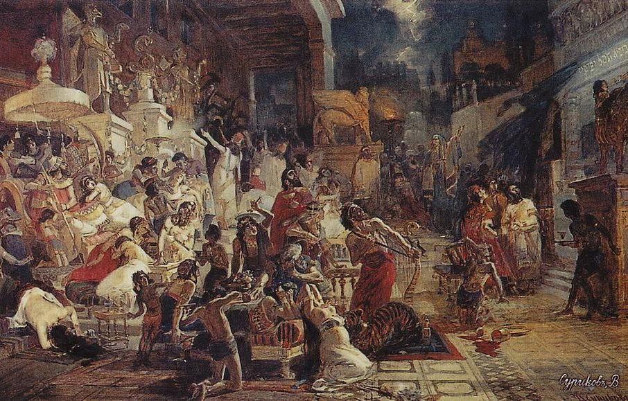 Картина «Пир Валтасара», В.И. Суриков, 1874 год, находится в Русском музее ©Фото с сайта wikiart.org