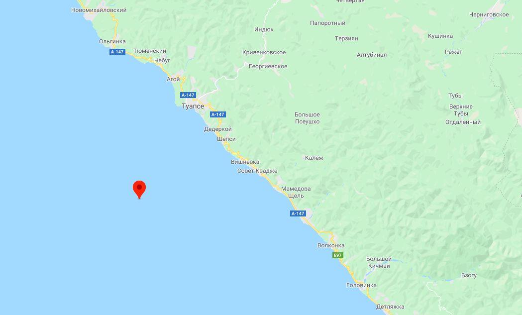 Координаты землетрясения по данным сайта gsras.ru ©Скриншот страницы сайта google.com/maps