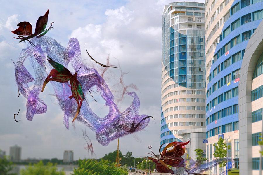 Фрагмент виртуальной скульптуры Анны Таганцевой-Кобзевой «Пыльца» ©Пресс-служба фестиваля Rosbank Future Cities