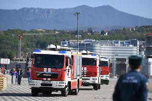 Показные учения по тушению пожаров на стадионе «Фишт»  в Сочи ©Фото Никиты Быкова, Юга.ру