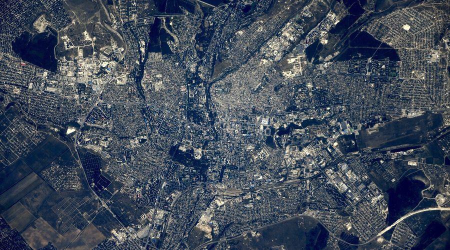 Симферополь с борта МКС ©Фото из аккаунта Сергея Рязанского, twitter.com/SergeyISS
