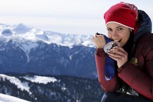 Саночница Татьяна Иванова, завоевавшая серебряную медаль в смешанной эстафете ©РИА Новости