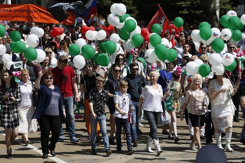 Вениамин Кондратьев возглавил первомайскую демонстрацию вКраснодаре