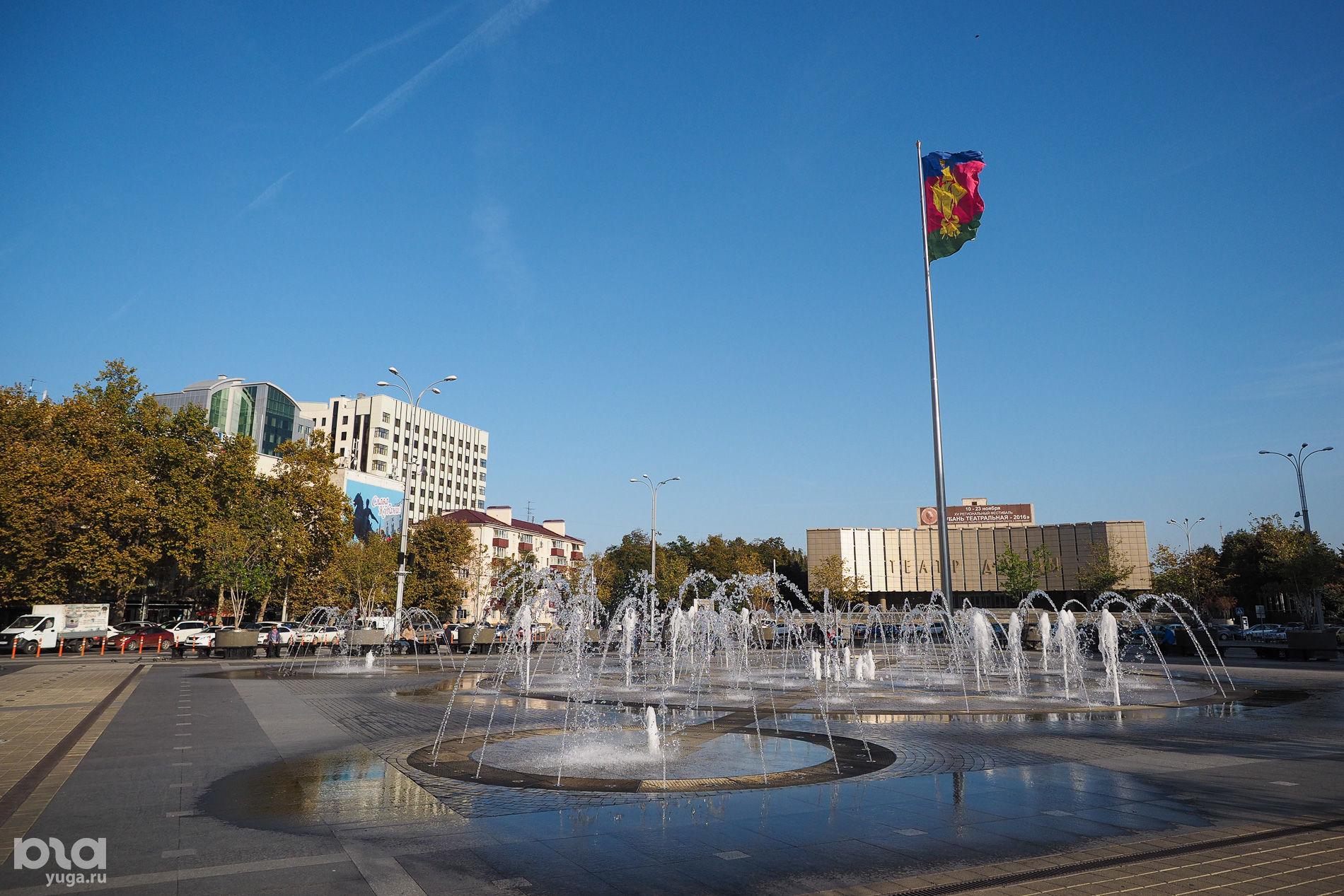 Фонтан на Главной городской площади (до апреля 2019 года — Театральной), Краснодар ©Фото Елены Синеок, Юга.ру