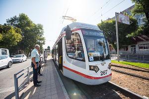 Презентация нового трамвая в Краснодаре ©Фото Елены Синеок, Юга.ру