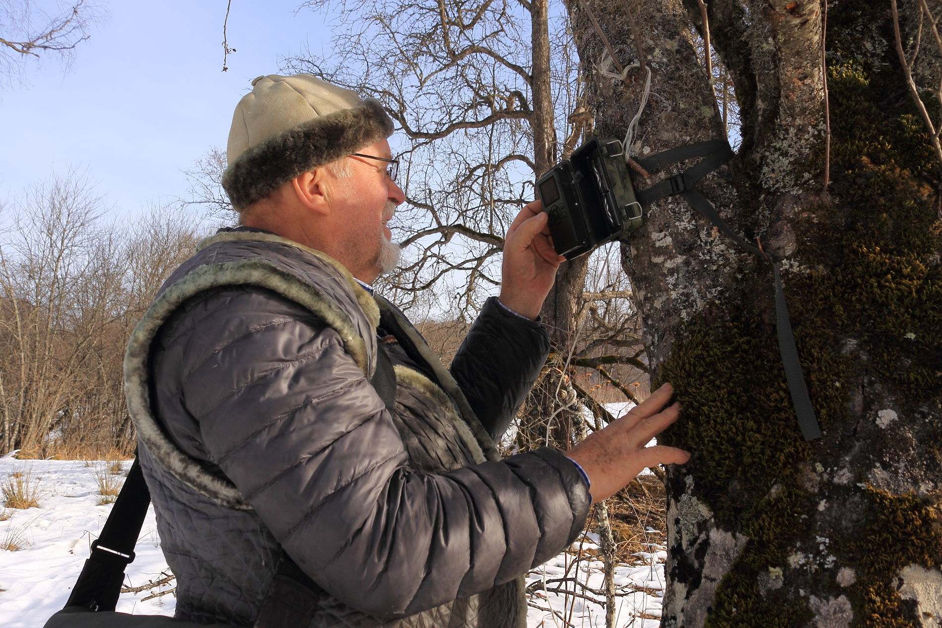 Профессор Кудактин осматривает фотоловушку ©Фото с сайта commons.wikimedia.org
