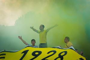 Болельщики на матче между «Кубанью» и «Абинском» ©Фото Елены Синеок, Юга.ру