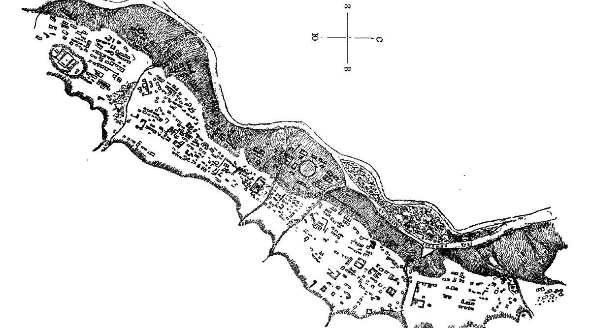Нижне-Архызское городище. Схема ©Схема из ru.wikipedia.org