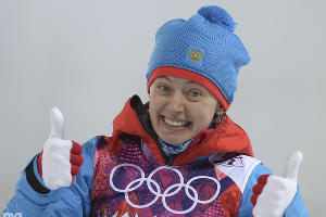 Биатлонистка Ольга Вилухина - серебряная призерка в спринте на 7,5 км ©РИА Новости