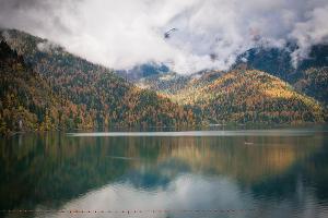 Горные пики над озером Рица укутаны облаками ©Елена Синеок, ЮГА.ру
