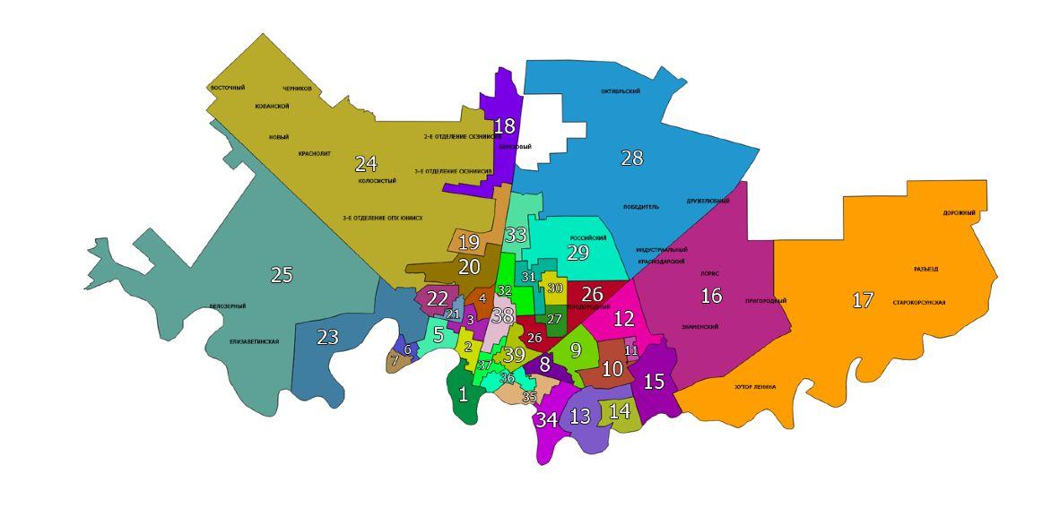Карта одномандатных избирательных округов Краснодара ©Графика пресс-службы администрации Краснодара