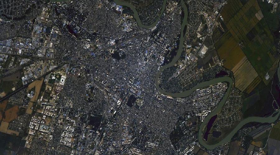 Краснодар из космоса ©Фото из аккаунта Сергея Рязанского, twitter.com/SergeyISS