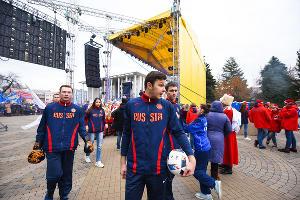 Митинг в поддержку олимпийцев в Краснодаре ©Фото Елены Синеок, Юга.ру