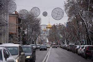 Снег в Краснодаре. Собор Александра Невского ©Елена Синеок, Юга.ру